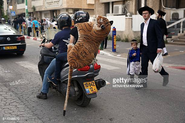 Dressed up ultraOrthodox Jewish men celebrate in the central Israeli city of Bnei Brak on March 24 2016 during the feast of Purim The carnivallike...