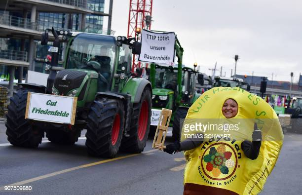 A dressedup protester walks past tractors on January 20 2018 in Berlin during a demonstration under the slogan 'We are fed up' against agricultural...
