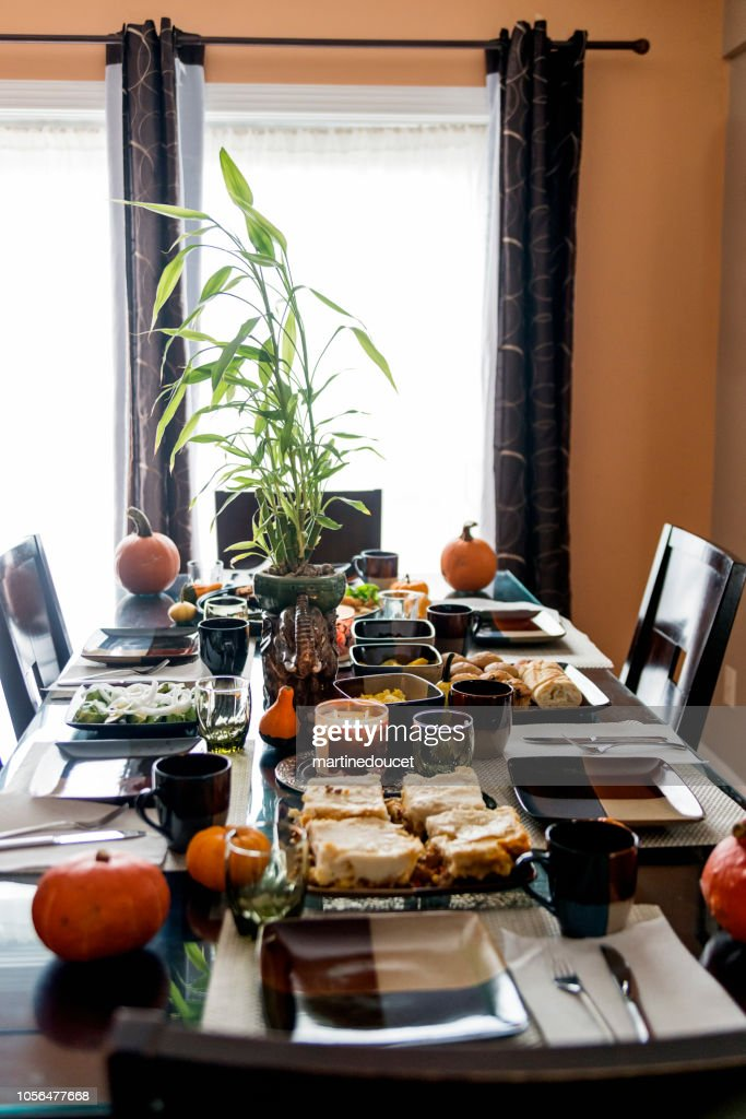 Dressed-up table for a family bruch gathering. : Stock Photo