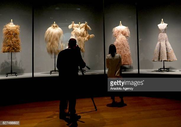 Dresses are displayed on a mannequins during the 'Manus x Machina: Fashion In An Age Of Technology' Costume Institute Gala at Metropolitan Museum of...