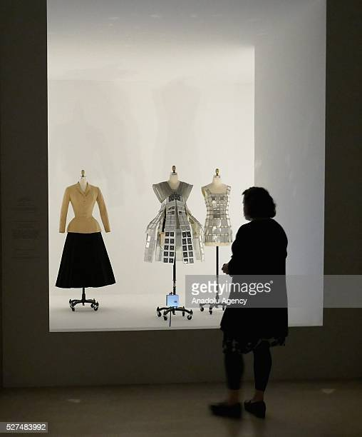 Dresses are displayed on a mannequins during the 'Manus x Machina Fashion In An Age Of Technology' Costume Institute Gala at Metropolitan Museum of...