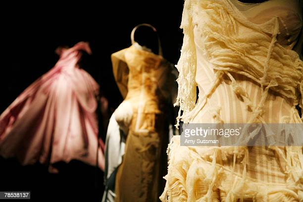Dresses are displayed The Blogmode addressing fashion exhibit at the Metropolitan Museum of Art's Costume Institute on December 17 2007 in New York...