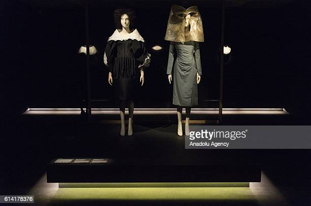 Dresses by fashion designer Alexander McQueen on display as part of The Vulgar Fashion Redefined exhibition charting the vulgarity and taste in the...