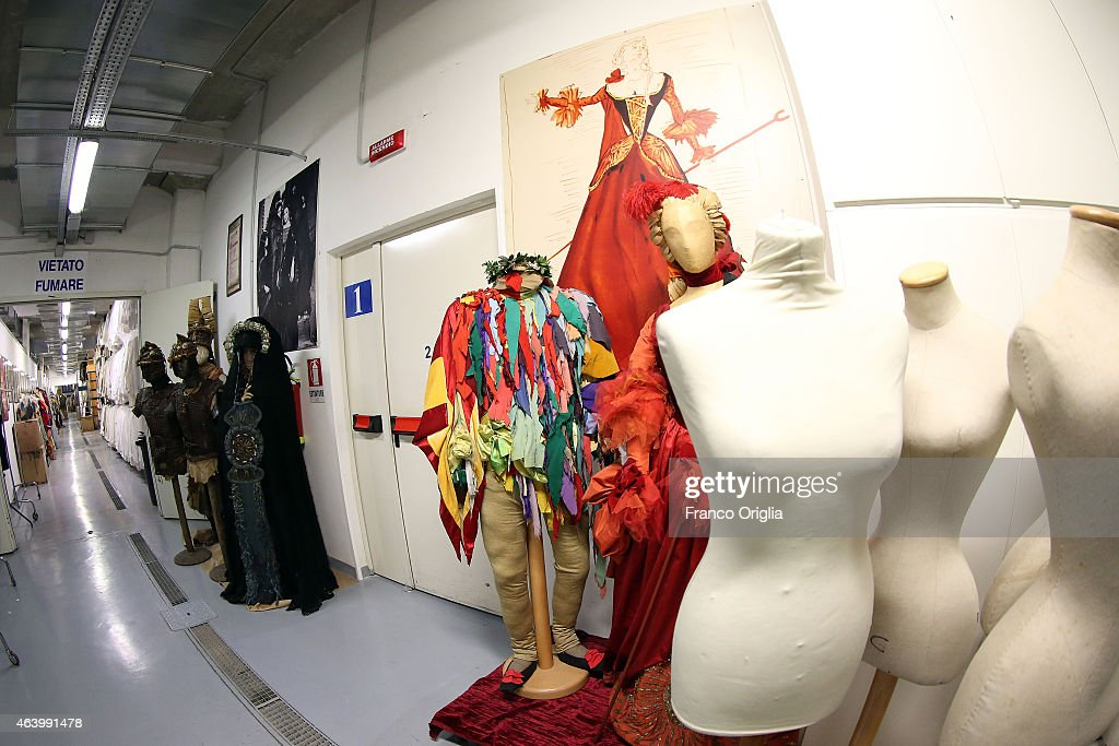 Dresses by Salvador Dali are shown at the Tirelli deposit of Formello on February 20, 2015 in Rome, Italy. The costumier Tirelli was established in 1964 and is responsible for the creation of costumes for films and well-known productions, including almost all of Luchino Visconti's films (designed by Piero Tosi). Tirelli has created costumes for a great many films for which it has won Academy Awards as well as other awards for Best Costume (Amadeus, Casanova, Cyrano, The English Patient, Age of Innocence, Marie Antoinette etc.).