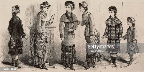 Dresses for girls and young women Magasins du Louvre designs engraving from La Mode Illustree No 50 December 12 1880