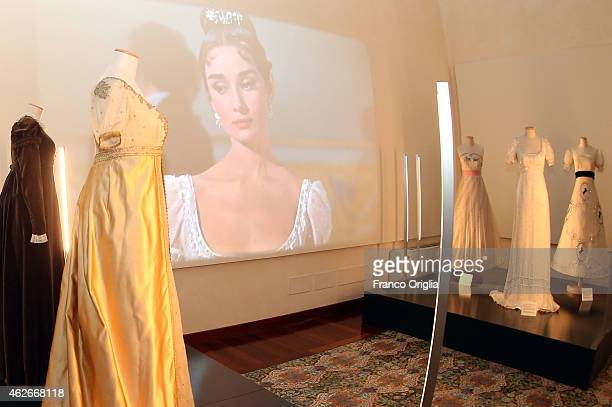 Dresses for the movie 'War and Peace' worn by Audrey Hepburn are shown during the 'I Vestiti Dei Sogni' Exhibition Opening at Palazzo Braschi on...