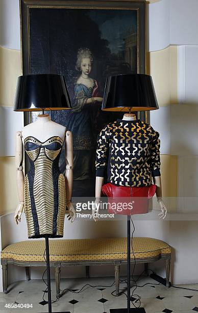 "Dresses from the Maya Hansen collection are displayed as part of the ""made in Spain"" event at Spanish Embassy on April 15, 2015 in Paris, France."