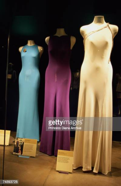 Dresses, including an asymmetrical design by Versace , belonging to Princess Diana on display at a memorial exhibition at her family home at Althorp,...