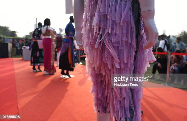 Dresses made with condoms displayed as people gather to observe the International Condom Day 2018, an event organized by Aids Health care Foundation...