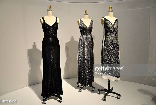 "Dresses on display at the Costume Institute's ""Manus x Machina"" exhibition press presentation at the Metropolitan Museum of Art at Metropolitan..."