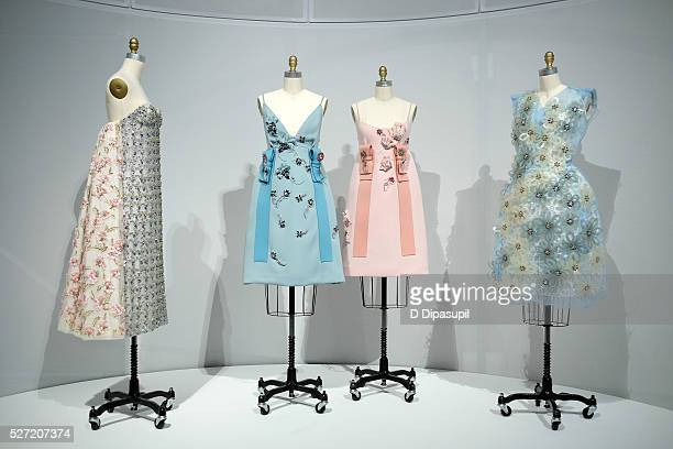 Dresses on display at the Manus x Machina Fashion in an Age of Technology press preview at the Metropolitan Museum of Art on May 2 2016 in New York...