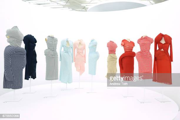 Dresses on display during Rei Kawakubo/Comme des Garcons Art Of The InBetween Costume Institute Gala press preview at Metropolitan Museum of Art on...