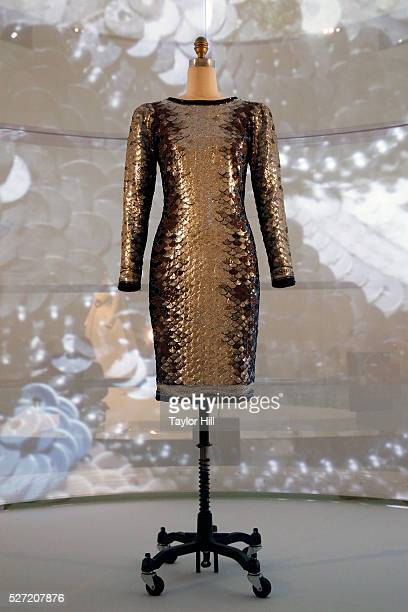 Dresses on display for the Manus x Machina Fashion in an Age of Technology exhibition at the Metropolitan Museum of Art on May 02 2016 in New York...