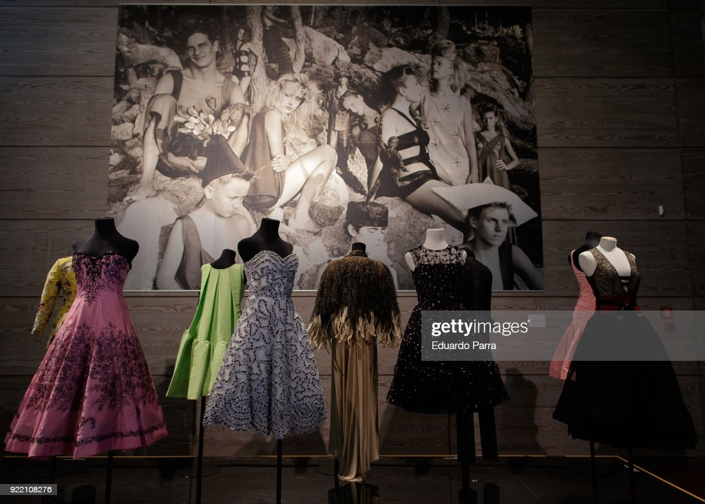 Dresses owned by Carmen Lomana are seen on display at the 'El Armario de Carmen Lomana' exhibition at the Dress Museum on February 21, 2018 in Madrid, Spain.