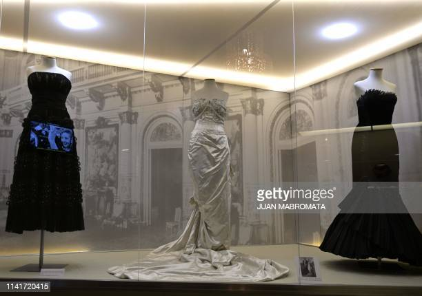 Dresses that belonged to former Argentina's First Lady Eva Peron are exhibited at the Evita Museum in Buenos Aires on May 6 2019 May 7th marks the...