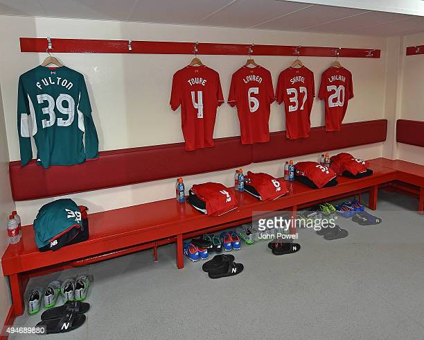 Dressing room before the Capital One Cup Fourth Round match between Liverpool and AFC Bournemouth at Anfield on October 28 2015 in Liverpool England