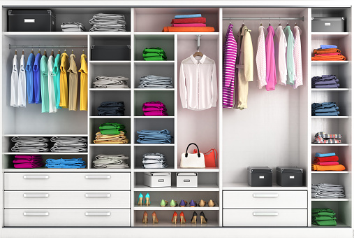 Dressing room in bright colors. Closet compartment. 3d illustration 1002114190
