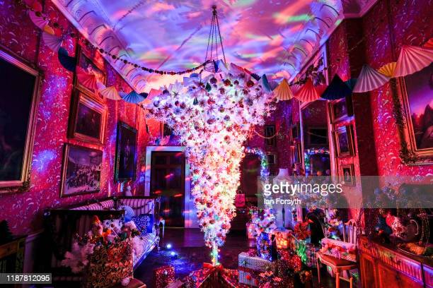 Dressing room is decorated with an upside Christmas tree to reflect the clown Puchinello during a press preview of the Christmas decorations at...