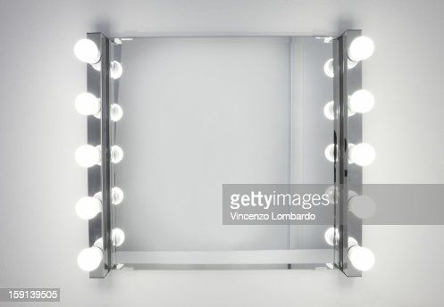 Dressing Room Mirror Lit By Ten Light Bulbs Stock Photo