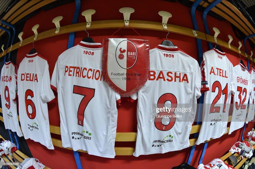 Dressing room of Bari FC prior the serie B match between Foggia Calcio and Bari FC at Stadio Pino Zaccheria on April 21, 2018 in Foggia, Italy.