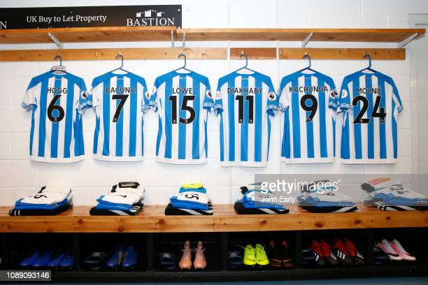 Dressing room of Huddersfield Town before the Premier League match between Huddersfield Town and Burnley FC at John Smith's Stadium on January 02...
