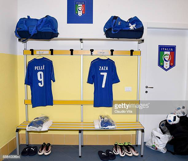 Dressing room of Italy at Stadio Marc'Antonio Bentegodi prior to the international friendly match between Italy and Finland on June 6 2016 at Stadio...