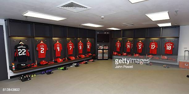 Dressing room of Liverpool before the Capital One Cup Final match between Liverpool and Manchester City at Wembley Stadium on February 28 2016 in...
