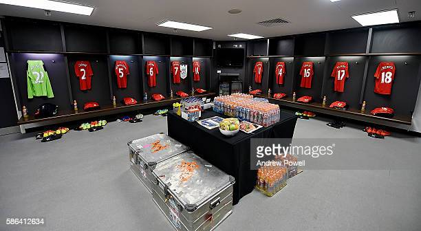 Dressing room of Liverpool before the International Champions Cup match between Liverpool and Barcelona at Wembley Stadium on August 6 2016 in London...