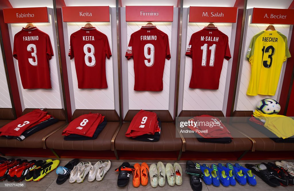 Dressing room of Liverpool before the Pre-Season friendly match between Liverpool and Torino at Anfield on August 7, 2018 in Liverpool, England.