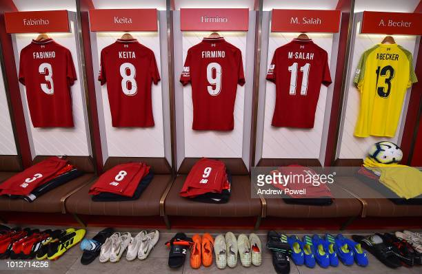 Dressing room of Liverpool before the PreSeason friendly match between Liverpool and Torino at Anfield on August 7 2018 in Liverpool England