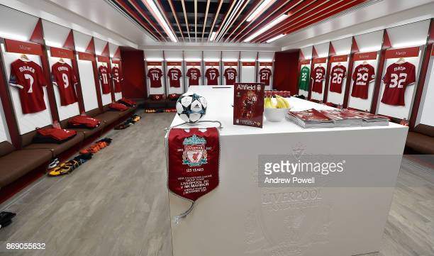 Dressing room of Liverpool before the UEFA Champions League group E match between Liverpool FC and NK Maribor at Anfield on November 1 2017 in...