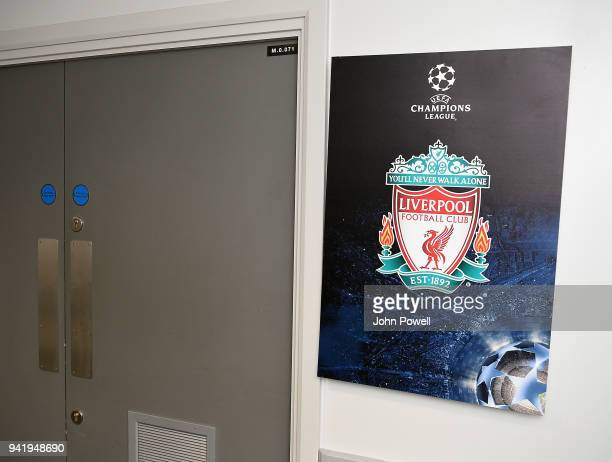 Dressing room of Liverpool before the UEFA Champions League Quarter Final Leg One match between Liverpool and Manchester City at Anfield on April 4...
