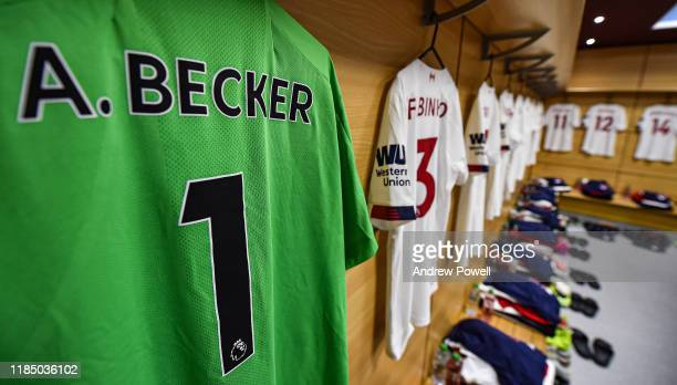 Dressing room of Liverpool befroe the Premier League match between Aston Villa and Liverpool FC at Villa Park on November 02 2019 in Birmingham...