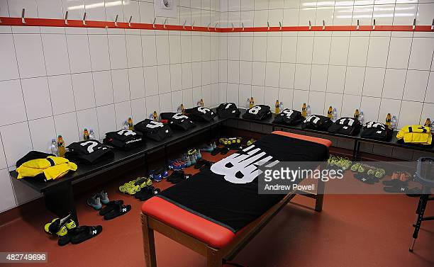 Dressing room of Liverpool FC before a preseason friendly at County Ground on August 2, 2015 in Swindon, England.