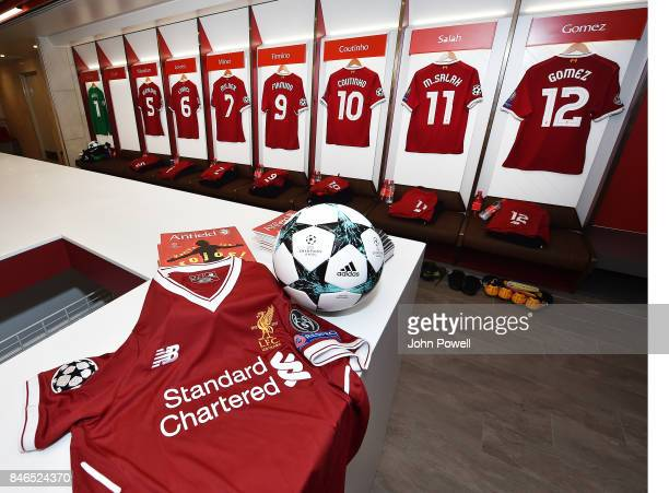 Dressing Room of Liverpool for the UEFA Champions League group E match between Liverpool FC and Sevilla FC at Anfield on September 13 2017 in...