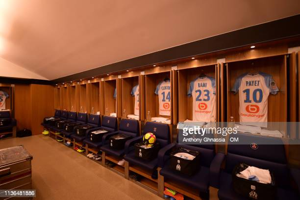 Dressing room of Marseille at the Ligue 1 match between Paris Saint Germain and Olympique de Marseille at Parc des Princes on March 17 2019 in Paris...