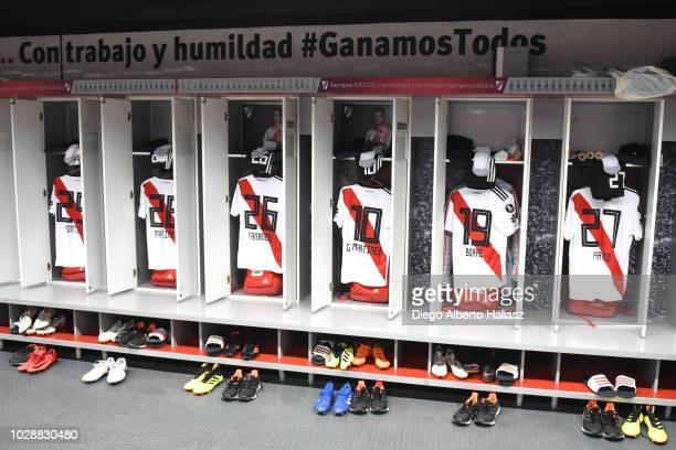 Dressing room of River Plate before a round of sixteen second leg match against Racing Club as part of Copa CONMEBOL Libertadores at Antonio Vespucio...