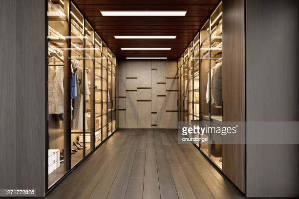 dressing room with shelves and lighting equipment - brown shoe stock pictures, royalty-free photos & images