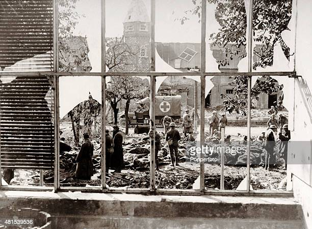 A dressing station for Allied wounded at a bombed French mansion following the British victory at Cambrai during World War One circa 1917