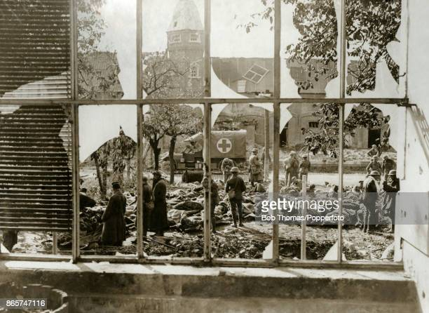 A dressing station for the wounded outside an old French mansion following the Battle of Cambrai in France during World War One circa December 1917