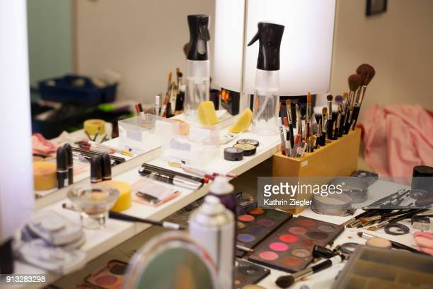 Dressing table with beauty products at the Bavarian State Ballet, Munich, Germany