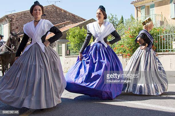 Dressing Up Women With Traditional Dress of Arlesienne Dancing Eyguieres France
