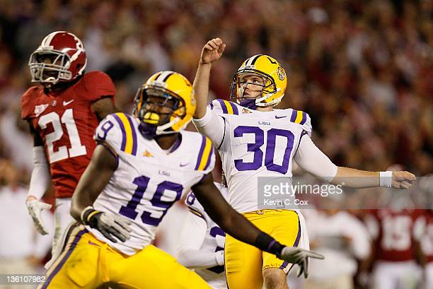 Drew Alleman of the LSU Tigers against the Alabama Crimson Tide at BryantDenny Stadium on November 5 2011 in Tuscaloosa Alabama