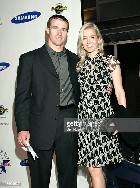 Drew and Brittany Brees at the NFL Alumni Player of the Year Awards at the Hard Rock Casino in Hollywood Florida on February 2 2007