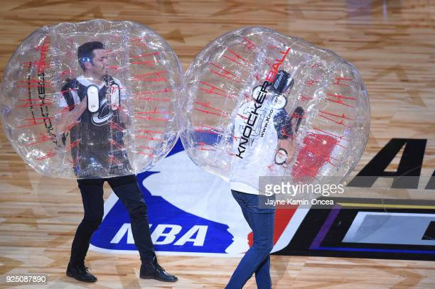 Drew and Jonathan Scott of HGTV's 'The Property Brothers' entertain the fans during the NBA AllStar Game as a part of 2018 NBA AllStar Weekend at...