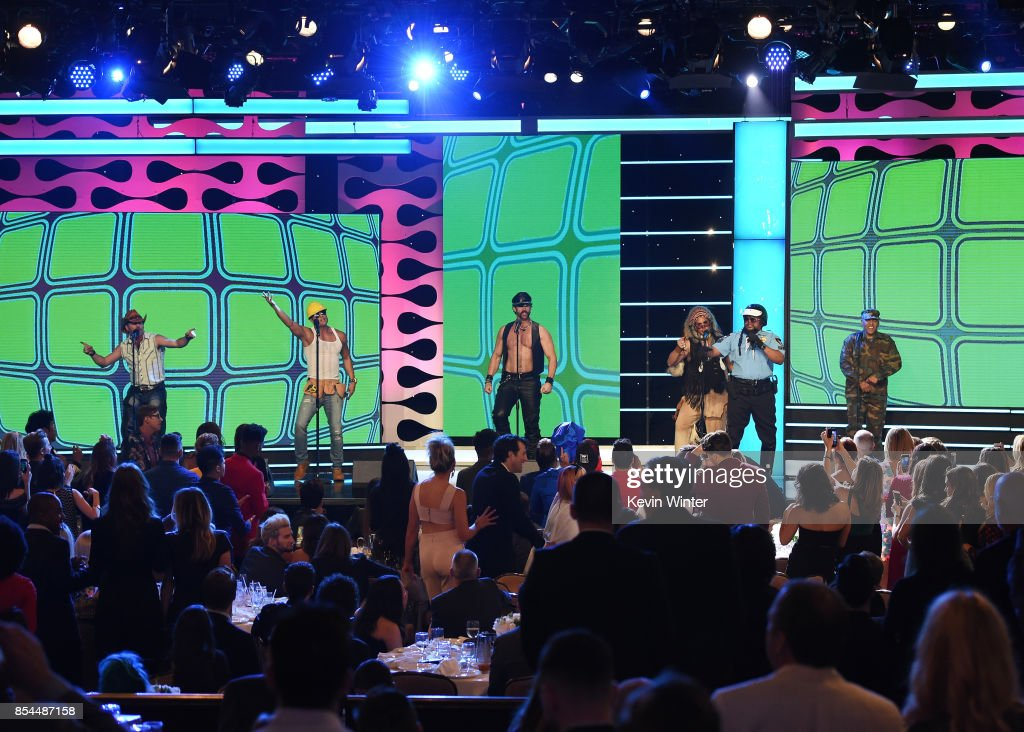 Drew Baldwin (C) with Chad Freeman, James Kwong, J.J. Lippold, Victor Willis, Angel Morales and Sonny Earl of Village People at the 2017 Streamy Awards at The Beverly Hilton Hotel on September 26, 2017 in Beverly Hills, California.