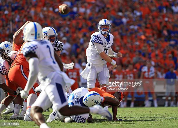 Drew Barker of the Kentucky Wildcats passes during a game against the Florida Gators at Ben Hill Griffin Stadium on September 10, 2016 in...