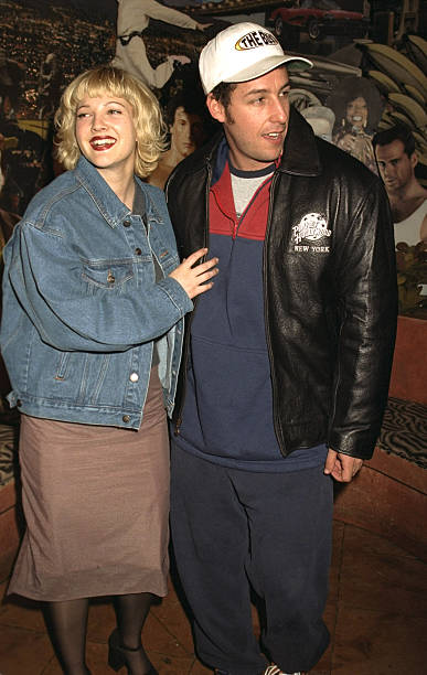 Drew Barrymore And Actor Adam Sandler Promoting Their Movie The Wedding Singer At