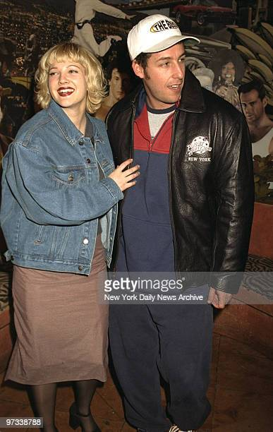 Drew Barrymore and actor Adam Sandler promoting their movie the 'The Wedding Singer' at Planet Hollywood