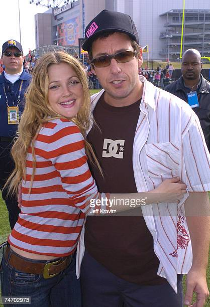 Drew Barrymore and Adam Sandler at the Super Bowl XXXVIII MTV's 'TRL at the Super Bowl' Day 2 at MTV Compound at Reliant Stadium in Houston Texas